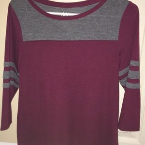 Burgundy Long Sleeve T-Shirt With Striped Sleeves